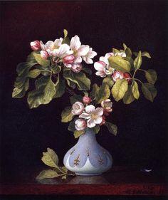 """Apple Blossoms in a Vase""    Martin Johnson Heade     1867"