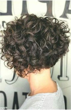 Short Permed Hair, Short Curly Hairstyles For Women, Haircuts For Curly Hair, Curly Hair Cuts, Curly Bob Hairstyles, Short Hair Cuts, Curly Hair Styles, Inverted Hairstyles, Short Layered Curly Hair