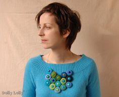 Turquoise Blue felt necklace