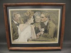 """Lithograph 1908 Collier's....""""Playing Bridge"""""""