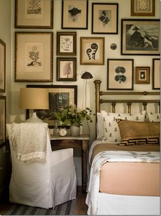 Small Guest room or master bedroom-family photos. small guest room with desk beside bed