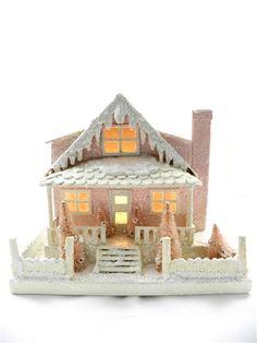 Pink Cottage - Cardboard House - KD Vintage Christmas Village Display, Christmas Village Houses, Christmas Decorations For The Home, Christmas Villages, Mini Houses, Box Houses, Putz Houses, Fairy Houses, Cardboard Houses