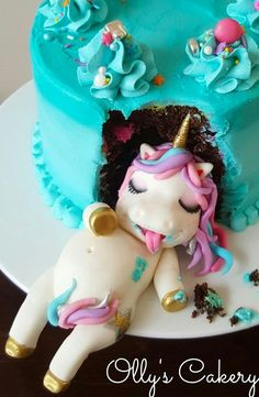 Fat unicorn cake by Amber Hohepa by Ollys Cakery cake biscuits etc. - Fat unicorn cake by Amber Hohepa by Ollys Cakery cake biscuits etc. Fat Unicorn, Unicorn Foods, Unicorn Cakes, Unicorn Cake Topper, Cake Cookies, Cupcake Cakes, Bolo Minion, Unicorn Birthday Parties, Happy Birthday