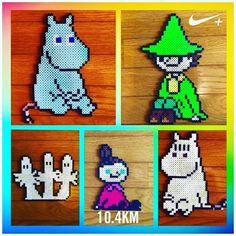Moomin perler beads by Fuse Bead Patterns, Beading Patterns, Cross Stitch Patterns, Fuse Beads, Perler Beads, Knitting Charts, Knitting Patterns, Little My Moomin, Crafts For Kids