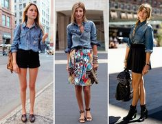 STREETSTYLE: DENIM SHIRTS | My Daily Style en stylelovely.com