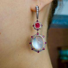 Red Spinel, Moonstone, Diamonds in IVY gold ear pendants! www.ivynewyork.com