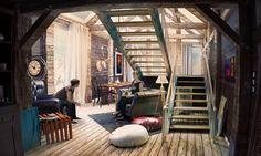 Perspective 3D d'un espace simple, imprégné d'un style rustique. #architecture #3D #visuarchstudio #oldschool #render #cgartist #design