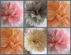 ON SALE 10 Tissue Pom Poms- Peach and Gray Wedding / Bridal Shower / Baby Shower / Birthday Party/Peach on Etsy, $20.00