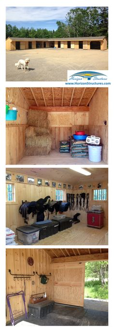 Modular L-shaped barn. Includes 5 - 10x12 stalls, 2 - 8x10 grooming/cross-tie areas, 10x18 tack/feed room. Delivered in 2 prebuilt sections.