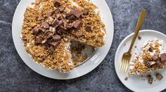 This triple-decker take on our absurdly easy crunch cake is a celebration of all things candy bar! With absolutely no baking involved, the hardest part is waiting overnight for the layers to freeze. But, oh, is it worth it.