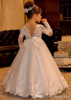 The dress for girl which match the flowers-white lace flower girl dresses long sleeves kids ball gowns long floor length appliques bow girls pageant dresses chi Princess Flower Girl Dresses, Lace Flower Girls, Wedding Flower Girl Dresses, Vintage Flower Girl Dresses, Flower Girl Gown, Bridal Dresses, Girls Pageant Dresses, Little Girl Dresses, Dresses For Girls