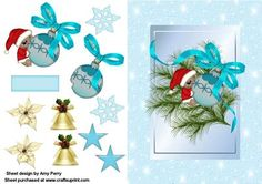 Cute Little Mouse Hugging A Bauble With Aqua Bow on Craftsuprint designed by Amy Perry - Cute Little Mouse Hugging A Bauble With Aqua Bow in a lovely aqua frame with matching bells,flowers,snowflakes and tag for your own decoration a really stunning design which is a pleasure to send and recieve to anyone - Now available for download!