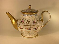 Antique Signed KPM Porcelain Paneled Teapot - Hand Painted Flowers ...
