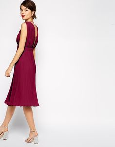 ASOS+Pleated+Midi+Dress+With+Plunge+Neck