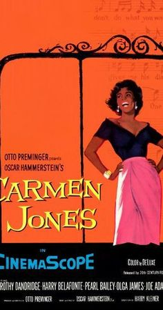 Directed by Otto Preminger.  With Harry Belafonte, Dorothy Dandridge, Pearl Bailey, Olga James. Contemporary version of the Bizet opera, with new lyrics and an African-American cast.
