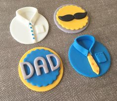 12 Happy Father's Day Fondant Cupcake Toppers by HoneyTheCake