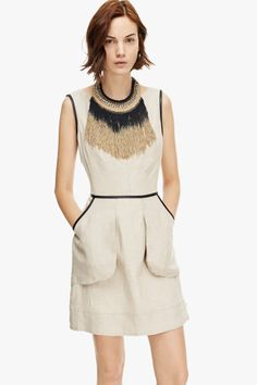 Combined Linen Dress - Dresses U Woman | Adolfo Dominguez spring summer