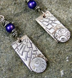 Purple beaded fine silver textured rectangle by Barkingdoggallery, $32.00