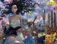 This is a classic example of Aaron Jasinski's pop culture style of a girl with guitar surrounded by classic characters.  Like many of #Aaron's works this paintin...