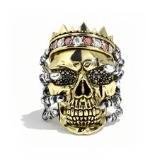 Skull Ring With Crown. Gold or Silver Skull Ring for Men - Proclamation Jewelry Skull Wedding Ring, Silver Skull Ring, Gold Skull, Custom Wedding Rings, Silver Man, Skull Rings, Diamond Skull, Skulls, Leo Diamond