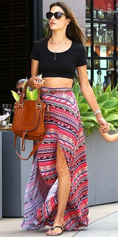 double-slit tribal maxi skirt, black crop top, brown level bag and ray bans. love this. if only i were taller.