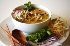 Pho Ga - Vietnamese chicken soup - seriously the best soup ever mmmmm - some day, I WILL make this.