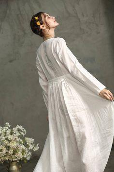 White Linen Dress White Maxi Dress White Prom Dress White
