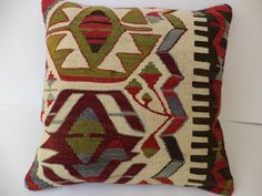 "HANDMADE PİLLOW COVER,20""X20"" inch Decorative Turkish Kilim Rug Pillow Cover,Oversize Pillow,Tribal Rug Pillow,Big Size Kilim Pillow."