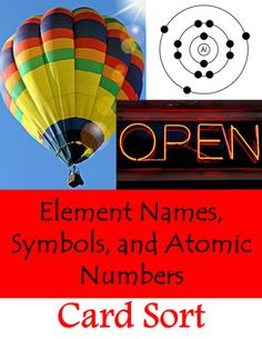 card sort element names symbols and atomic numbers