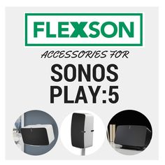 All the Flexson accessories for the SONOS Wall mounts, desk stands, floor stands, ceiling mounts and Sonos Play 3, Sonos Speakers, Play 1, Power Cable, Ceiling, Desk, Flooring, Wall, Accessories