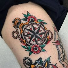 New Traditional Compass Tattoo Design Anchors 52 Ideas Traditional Nautical Tattoo, Traditional Compass Tattoo, Traditional Tattoo Man, Traditional Tattoo Hourglass, Traditional Sleeve, Nautical Compass Tattoo, Compass Rose Tattoo, Compass Tattoo Design, Sanduhr Tattoo Old School