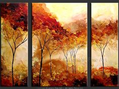 """""""Golden Autumn"""" - Original Landscape Art by Lena Karpinsky, http://www.artbylena.com/original-painting/20125/golden-autumn.html"""