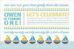 Row Your Boat Birthday Invitation by BHallStationery on Etsy