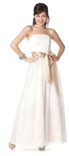 Long Ivory Bridesmaid Dress Gold Bow Waist Band Strapless A Line  $149.99