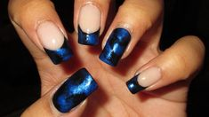 Black & Blue French Tip | Nail Art April 2014 #1 | DIY Nail Art Tutorial... This is beautiful!