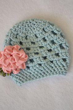 crochet hat with ribbon flower