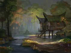 t179 by ~SnowSkadi on deviantART plant roofs, on stilts, pointed ends to roof, porches around house