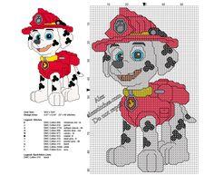 Marshall Paw Patrol free small cross stitch pattern 57 x 90 stitches - free cross stitch patterns by Alex