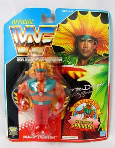 The Dragon Ricky Steamboat WWE Legends Series 1 Action Figure WWF Rare NIB MIB. Wwf Superstars, Wrestling Superstars, Wwf Toys, Wwf Hasbro, Wwe Action Figures, Wwe Champions, Band Posters, Professional Wrestling, Childhood Toys
