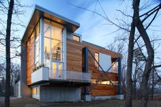 This Massachusetts home is built from recycled materials that were saved from the rebuild of the I-93 in Boston.