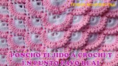 TEJIDOS MILAGROS ENA: Poncho o Capa tejida a crochet o ganchillo paso a paso en Punto pavo Real TODAS LAS TALLAS