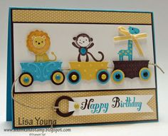 Various punches and embossing folders were used to create the 3 little carts on this zoo themed birthday card. Each cart holds a different animal from Fox and Friends - a perfect stamp set for this type of theme!