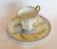 http://www.etagereantiques.com/collections/vintage-kitchen-and-dining/products/antique-martial-redon-limoges-demitasse-and-saucer This antique porcelain demitasse and saucer w...