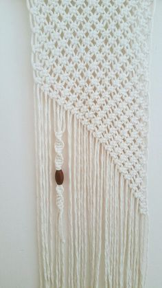 Gorgeous Modern Macrame, Minimalist handmade macrame, wall hanging is handmade with neutral cotton macrame cord and large wood bead. This Macrame whit modern element, and so many applications . Macrame Wall Hanging, Bohemian Macrame, Wall decor Woven, Wall hanging Weaving, boho