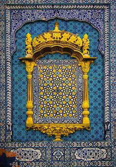 "Beautiful Tile Art from the shrine of famous Sufi Saint - Hazrat Sachal Sarmast located in village Daraza of district Khairpur Mirs, Sindh, Pakistan. This tile work from Pakistan is famously known as ""Kashi-gari"". Art Et Architecture, Islamic Architecture, Beautiful Architecture, Architecture Details, Art Du Monde, Moroccan Style, Moroccan Design, Arabesque, Islamic Art"