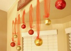 Hanging Ornament Balls with Tulle