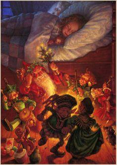 Santa and elves delivering presents.