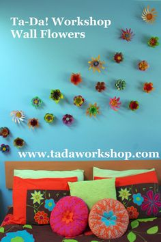 Recycled Plastic Wall Flowers set of 5 indoor or by tadaworkshop, $14.00