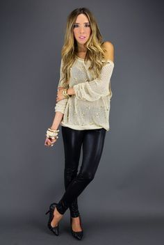 ALL OVER STUDDED SWEATER - Beige $58