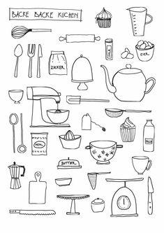 keukenspullen tekenen dibujos libros de recetas